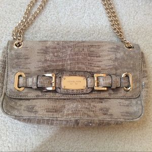 Michael KORS python Leather Clutch with Gold